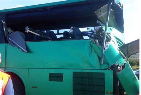 Egged bus damaged in accident