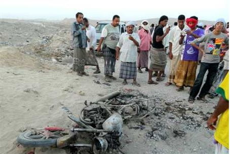 Motorcycle hit in drone strike in Yemen