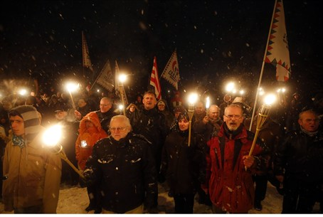 Supporters of the Hungarian far right Jobbik