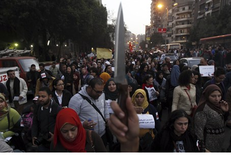 Egyptian women protest sexual assault at demo