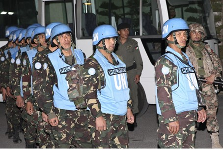 Filipino UN peacekeepers arrive at the headqu