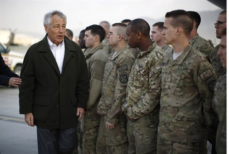 Chuck Hagel greets NATO soldiers in Afghanist