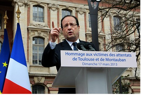 French Pres. Hollande at Toulouse memorial