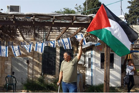 Man waves PLO flag in Jerusalem