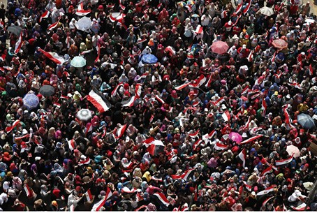 Demonstrators in Tahrir Square