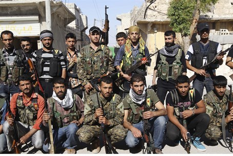 Kurdish fighters in northern Syria