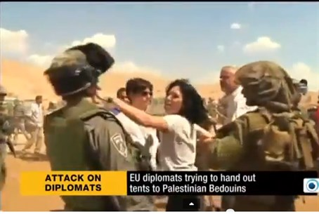 Castaing throws a punch at IDF soldier