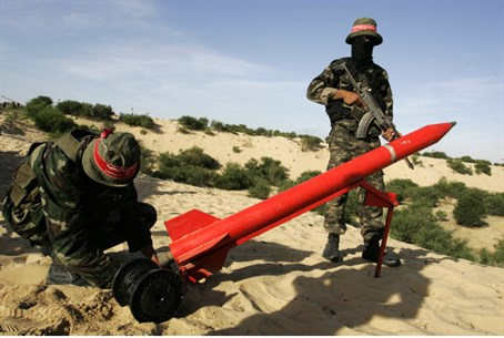 Gaza terrorists prepare to fire on Israel