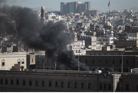 Smoke rises from Yemen Defense Ministry's com