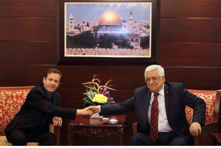 Labor head Yitzhak Herzog meets Mahmoud Abbas