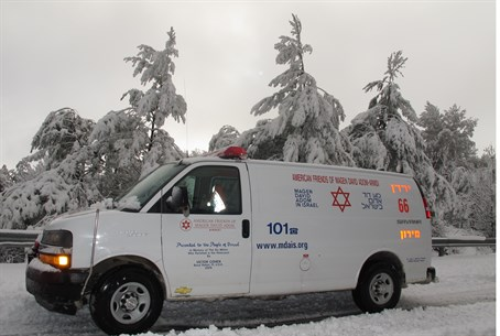 Ambulance in snow (file)