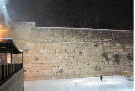 Western wall (kotel) with snow