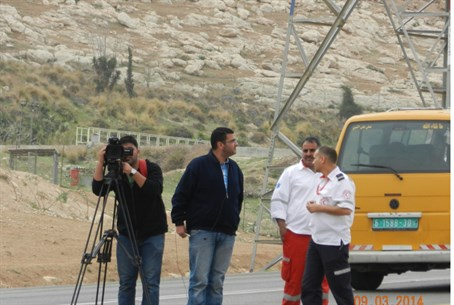 Palestinian film crew at scene of riot