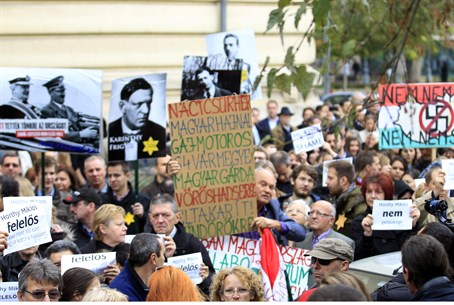 Hungarian anti-Nazism protest (file)