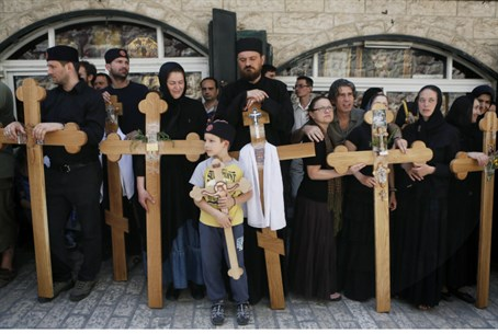 Christians celebrating Good Friday in Israel