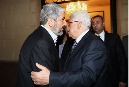 Hamas leader Khaled Mashaal with Mahoud Abbas
