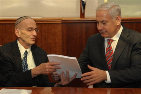 Edmond Levy presents his report to Binyamin N