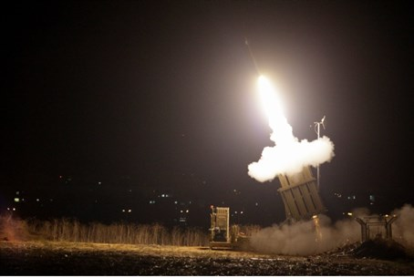 Iron Dome missile defense system in action