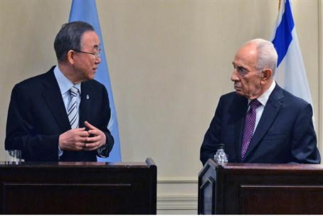 UN chief Ban Ki-moon and President Shimon Per