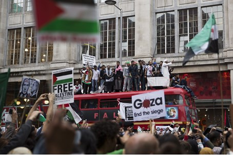 Pro-Palestinian Arab demonstrators protest ag