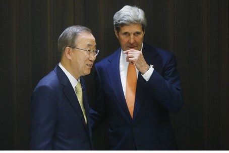John Kerry with UN Sec. General Ban Ki Moon