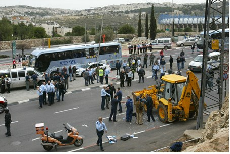 The scene at Monday's attack in Jeruslaalem