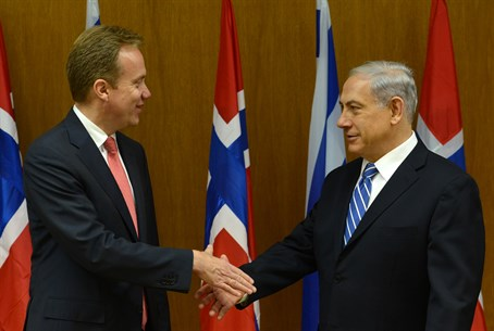 Norweigan FM Borger Brende and Binyamin Netan