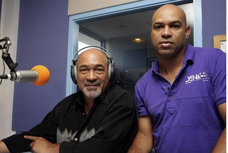 Guilty: Dino Bouterse (R) next to his father