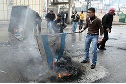 PA Arabs burn Israeli goods