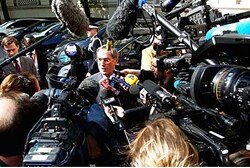 France's Interior Minister Gueant speaks to media meeting with French Muslim leaders