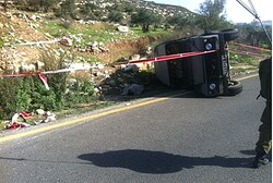 The overturned jeep