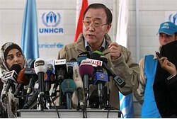 Ban Ki-moon speaks to the media during his visit to Al Zaatri refugee camp, in Jordan. - Reuters